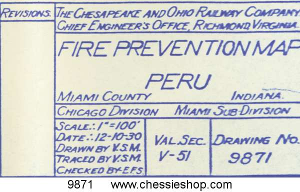 "Fire Prevention Map Peru, IN 12/10/1933 (12""x54"")"