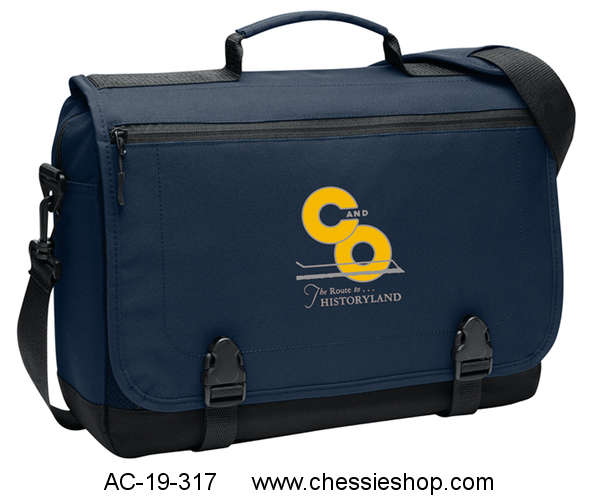 Messenger Bag, Embroidered Chesapeake & Ohio Lines, Navy