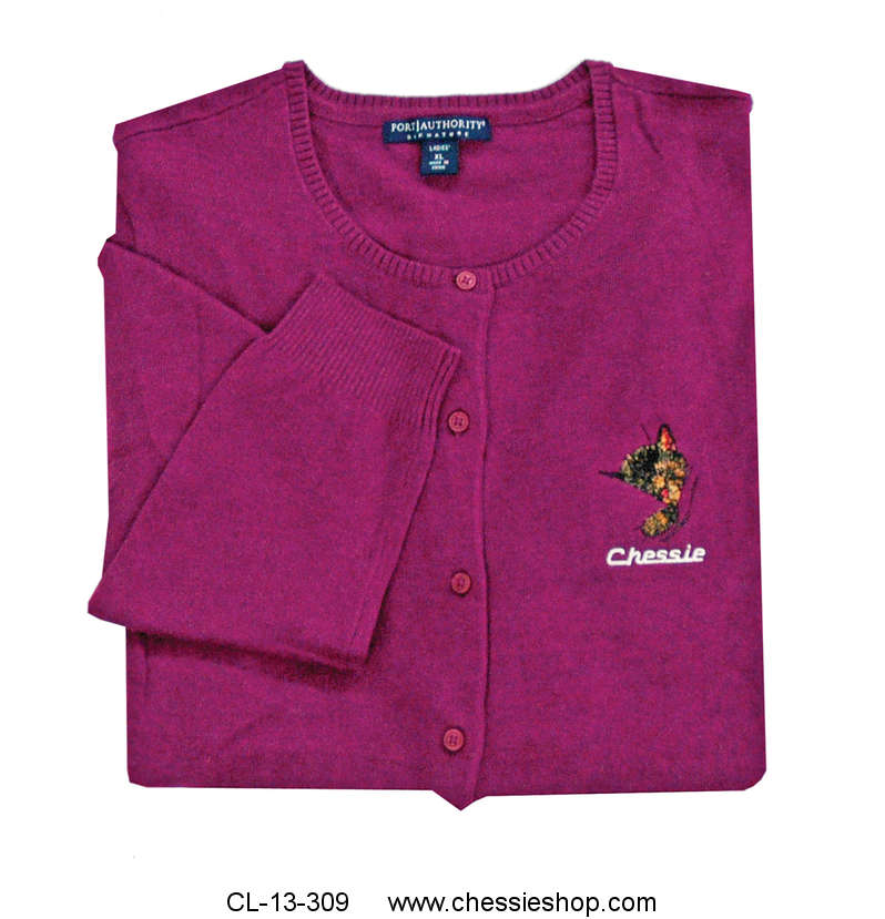 Cardigan, Chessie embroidered, deep berry