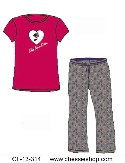 Pajama Set, Chessie Heart/Sleep Like a Kitten