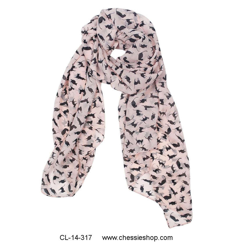 Scarf, Soft Chiffon, Pink with Black Cat Print
