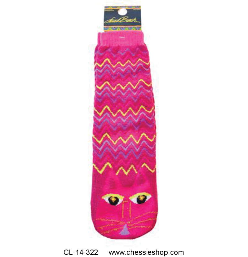 Slipper Socks, Fuchsia Cat