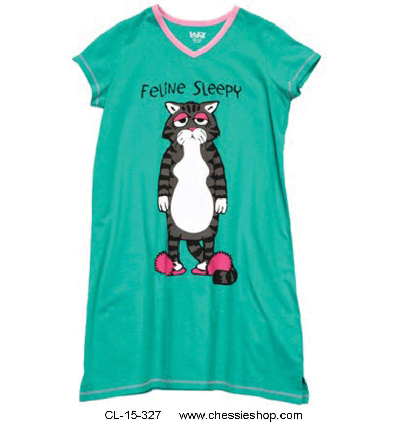 PJ Nightshirt, Feline Sleepy, V-Neck