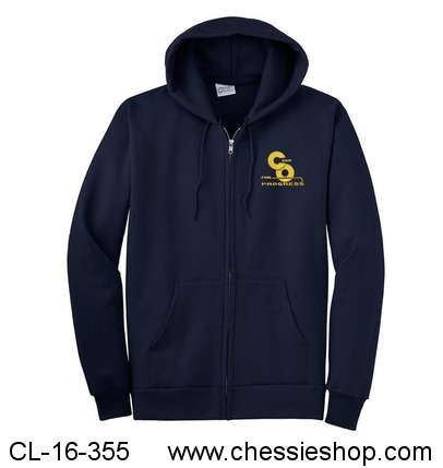 Sweatshirt, Full Zip Hoodie, C&O For Progress, Emboidered