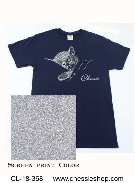 T-Shirt, Chessie, Liquid Silver on Navy