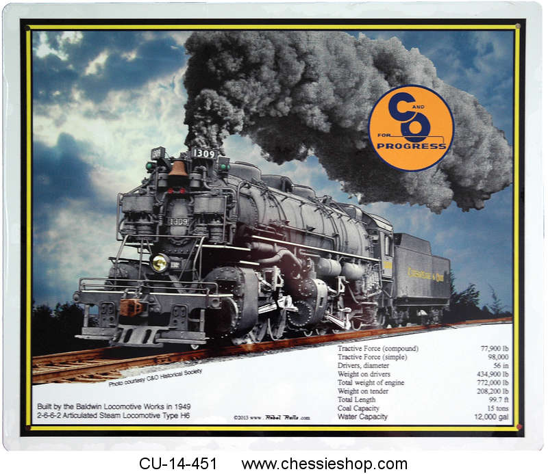 Metal Sign, 2-6-6-2 Articulated Steam Locomotive, H-6 #1309