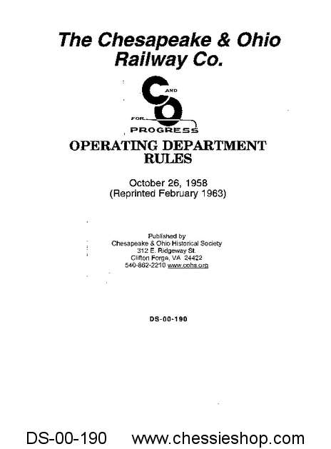 C&O Operating Rule Book 1958