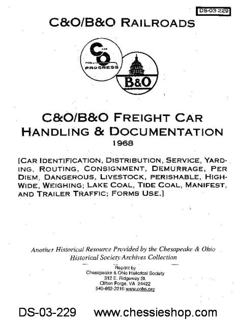 C&O/B&O Freight Car Handling & Documentation