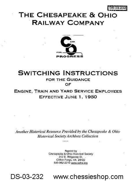 C&O Switching Instructions, Jun. 1950