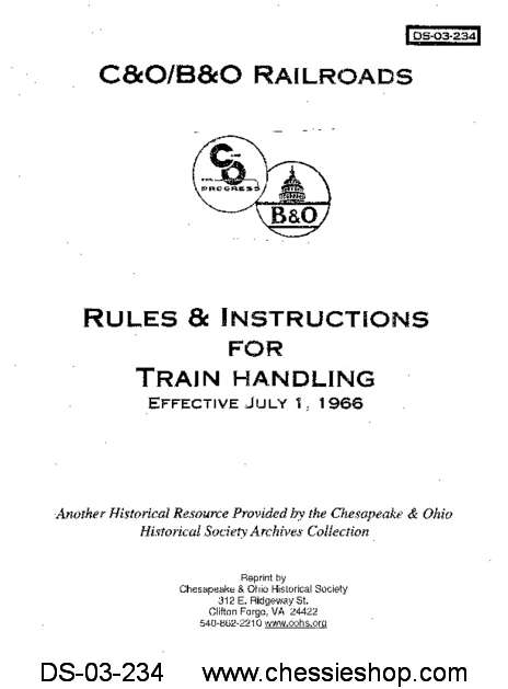 C&O/B&O Rules & Instructions for Train Handling