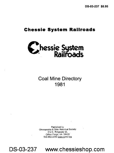 Chessie System Coal Mine Directory 1981