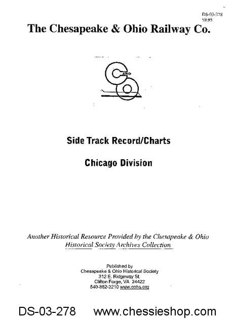 C&O Side Track Chart, Chicago Division