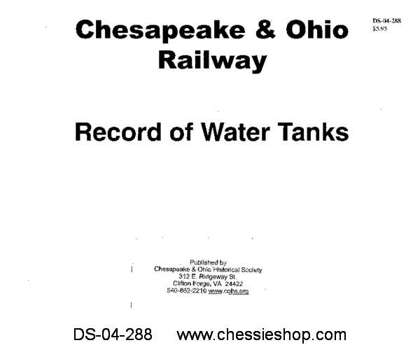 C&O Record of Water Tanks