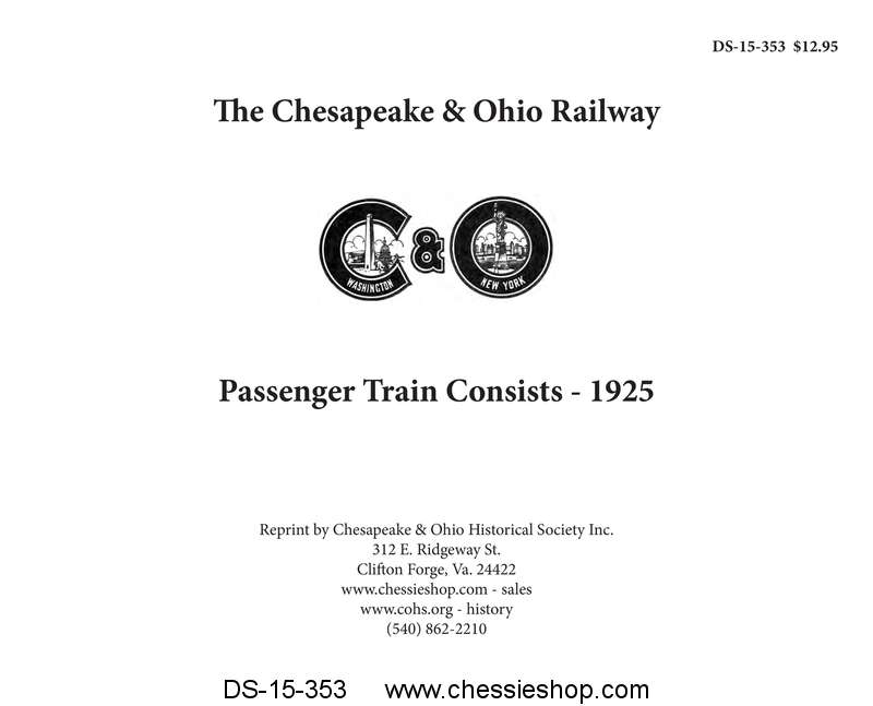 C&O Passenger Train Consist 1925