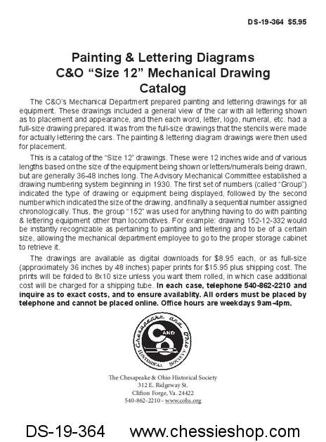 "C&O Painting & Lettering Diagrams ""Size 12"" Mechanical Drawings"