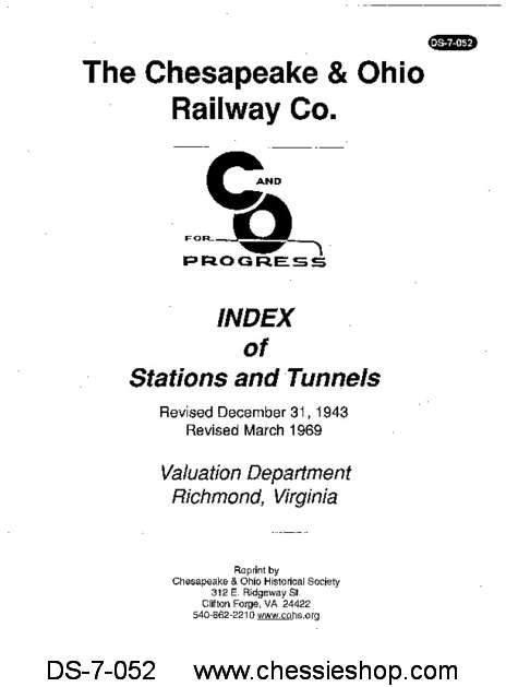 Index of Stations and Tunnels (Revised Dec. 1943 and...
