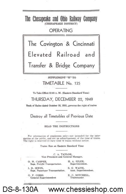 Employee Timetable, Covington & Cincinnati