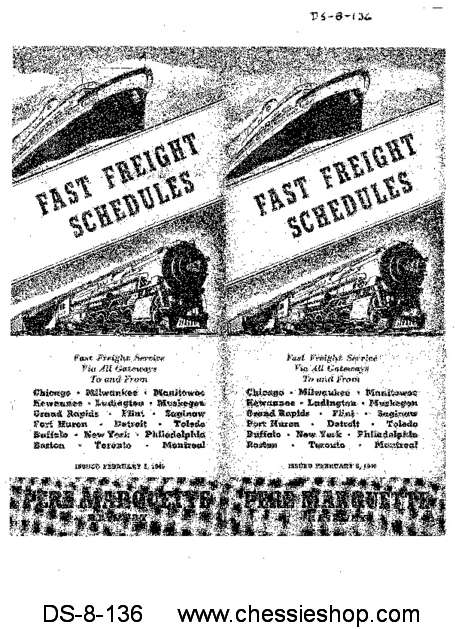 PM Fast Freight Schedules (Issued Feb. 1940)