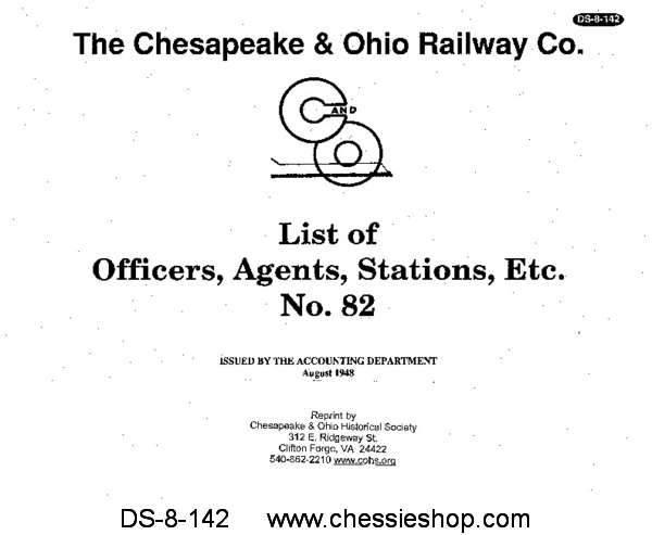 C&O Officers, Agents, and Stations No. 82 (1948)...