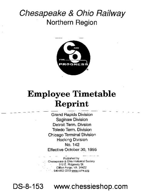 Employee Timetable - Northern Region No. 142 (Oct. 1955)