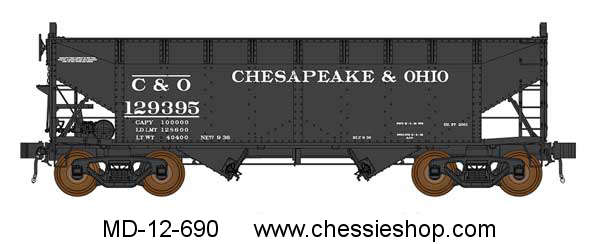 Hoppers, AAR 2-Bay with dreadnaught ends, set of 6, HO