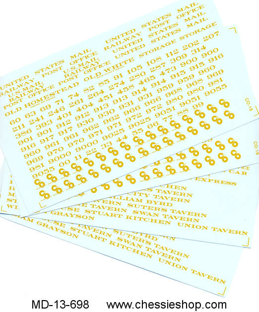 Decals, Set #31, Diners & Head End Cars, Imitation Gold, O Scale