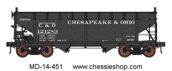 Hoppers, Set of 6 AAR Alt Std 2-Bay C&O, Angular Heap Shields HO
