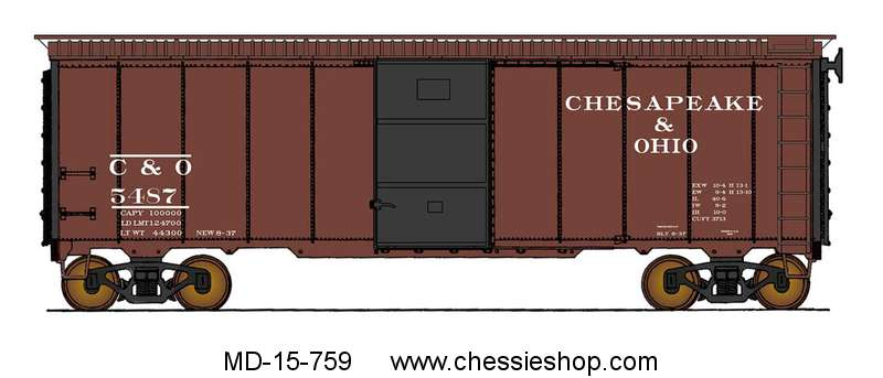 Boxcar, Straight C&O, Deco Ends, 1937 AAR 40', HO Scale